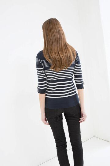 Striped pullover in viscose blend, Navy Blue, hi-res