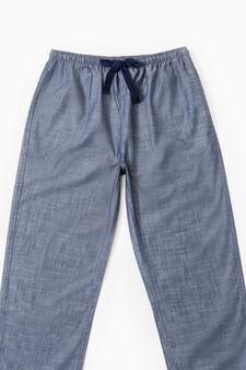Cotton pyjama bottoms with drawstring, Denim Blue, hi-res