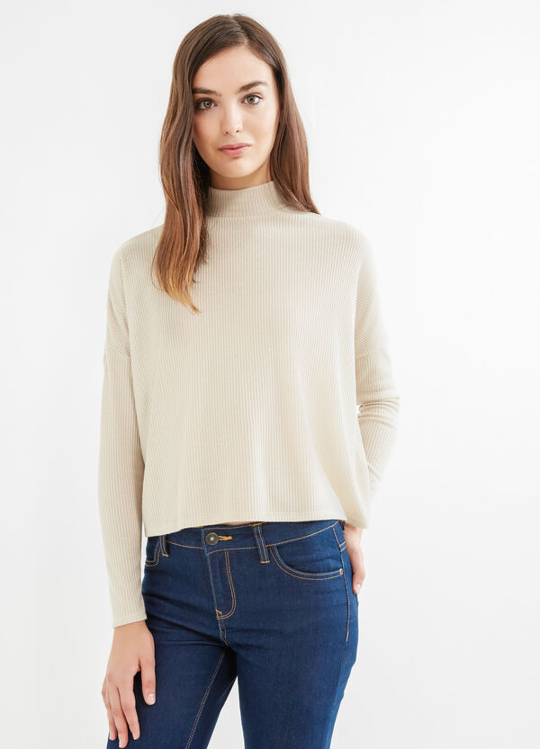 Ribbed short pullover with high neck | OVS