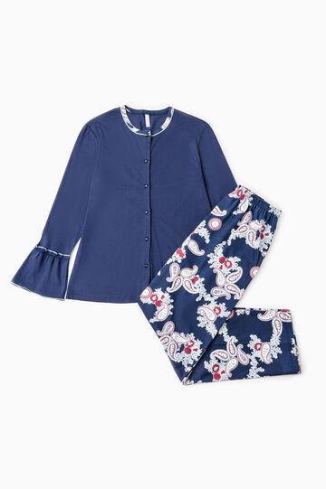 Paisley pattern cotton pyjamas, Navy Blue, hi-res