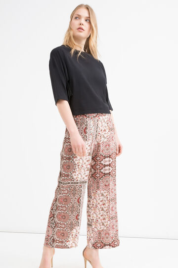Printed stretch trousers, Pink, hi-res