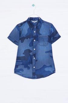 Camicia di jeans con stampa, Blu, hi-res