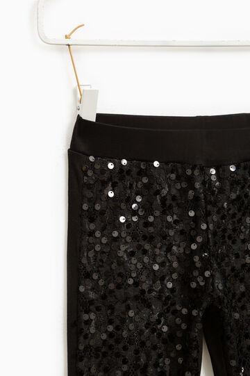 Cotton lace and sequin leggings, Black, hi-res