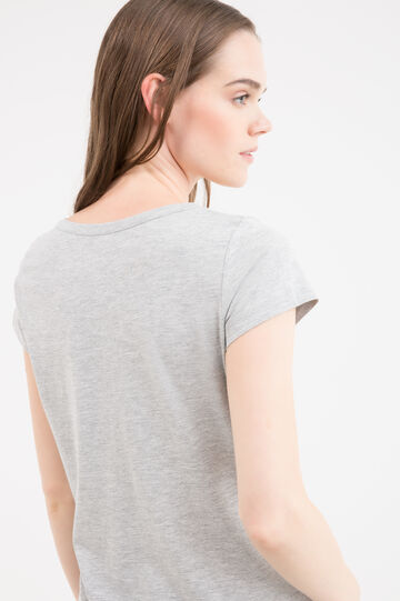 Diamanté T-shirt in 100% cotton, Grey, hi-res