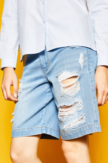 Denim Bermuda shorts with rips