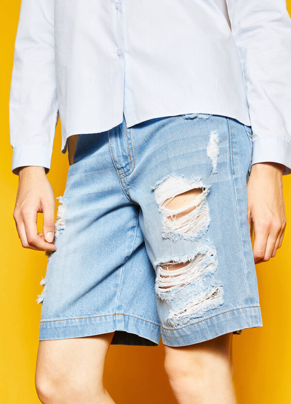Denim Bermuda shorts with rips | OVS