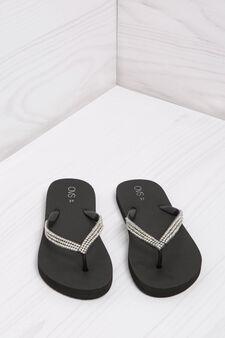 Diamanté thong sandals, Black, hi-res