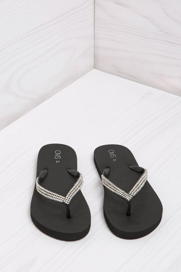 Diamanté thong sandals, Black, hi-res