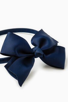 Alice band with bow, Navy Blue, hi-res