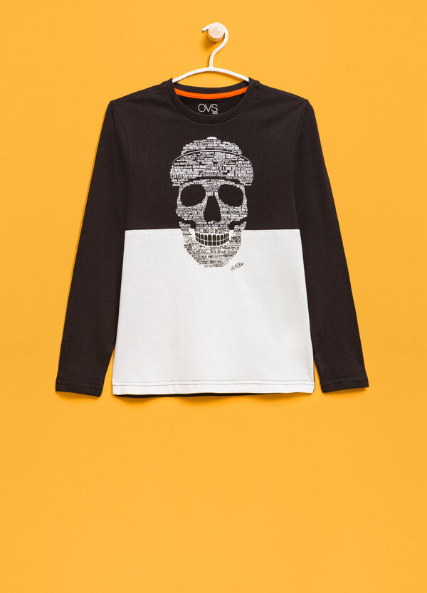 Cotton T-shirt with skull print | OVS