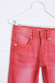 Jeans stretch effetto used, Rosso, hi-res