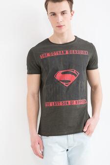 Superhero printed cotton T-shirt, Dark Green, hi-res