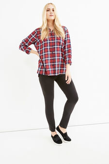 Curvy solid colour stretch cotton leggings, Black, hi-res
