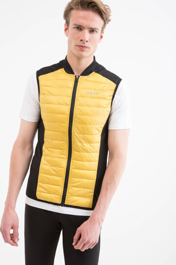 Quilted waistcoat with high collar, Yellow, hi-res