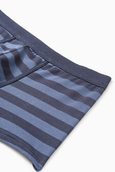 Two-pack boxer shorts striped and solid colour, Denim Blue, hi-res
