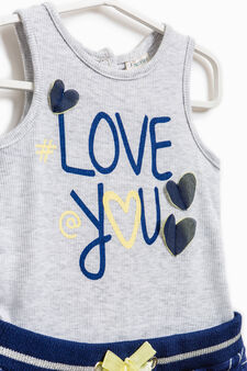 Heart pattern stretch romper suit, Grey Marl, hi-res