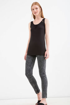 Solid colour stretch top, Black, hi-res