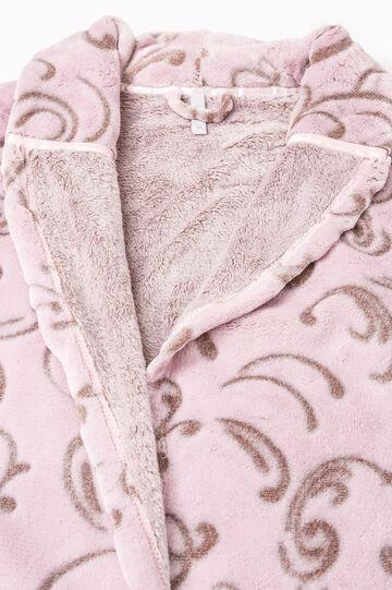 Vestaglia in pile fantasia, Bianco/Rosa, hi-res