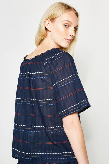 Striped blouse with embroidery