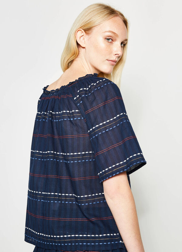 Striped blouse with embroidery | OVS