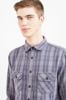 Camicia casual cotone a quadri G&H, Nero/Grigio, hi-res