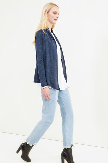 Glitter cardigan with shawl neck, Blue, hi-res