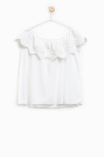 Viscose top with embroidered flounce