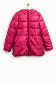 Solid colour down jacket with hood, Fuchsia, hi-res
