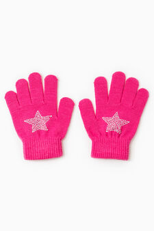 Solid colour gloves with glitter, Fuchsia, hi-res