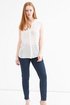 Curvy sleeveless cotton blouse, Cream White, hi-res