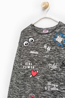 Stretch pullover with printed lettering, Black/White, hi-res