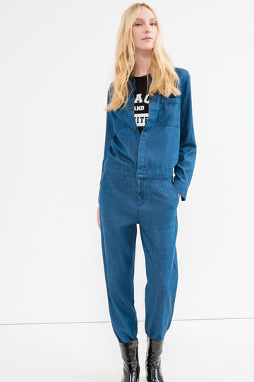 Denim jumpsuit with pockets, Denim Blue, hi-res
