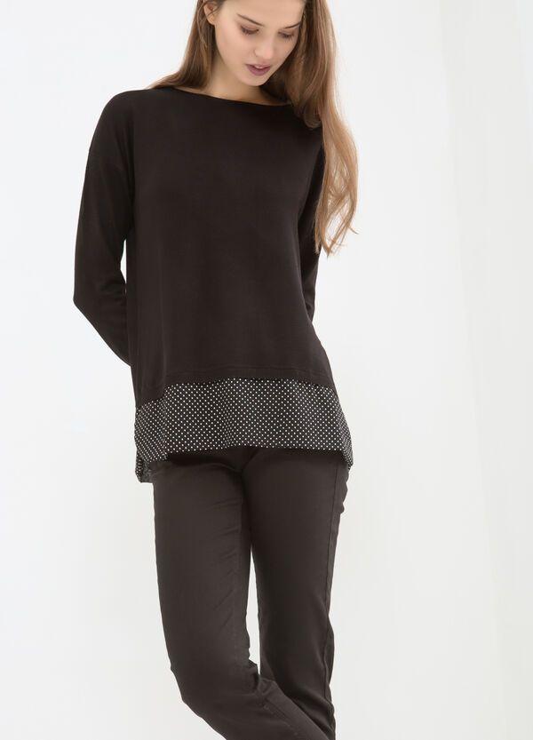 Knitted pullover with polka dot pattern | OVS