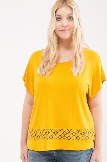 Curvy T-shirt in stretch viscose blend, Yellow, hi-res