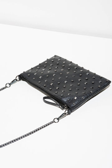 Bag with studs and chain shoulder strap, Black, hi-res