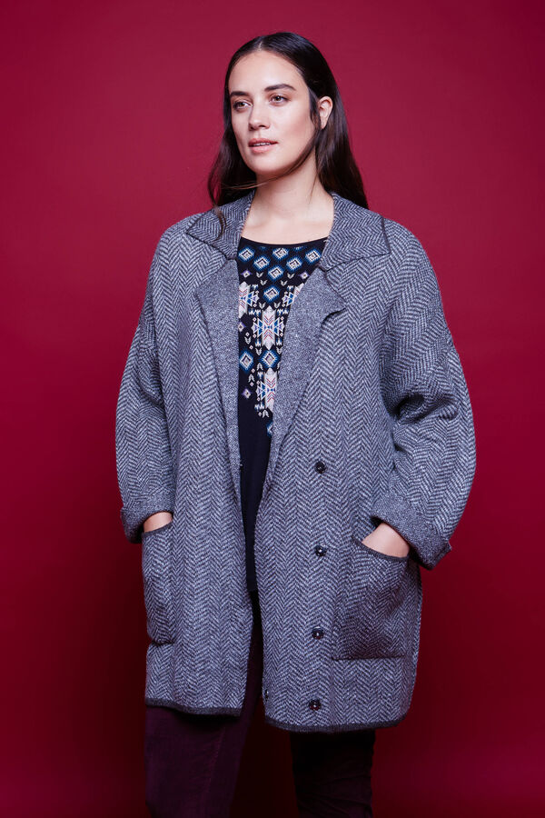 Curvy knitted patterned coat | OVS