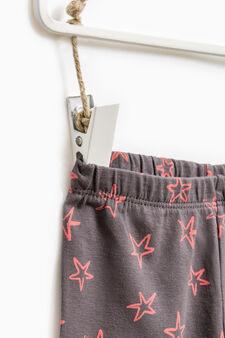 Stretch cotton patterned leggings, Dark Grey, hi-res