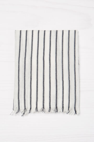 Striped pashmina in 100% viscose, White, hi-res