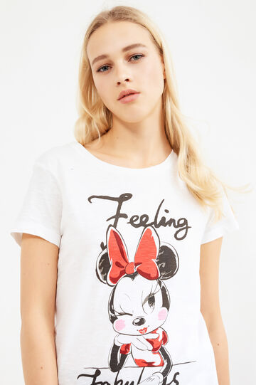 100% cotton T-shirt with Minnie Mouse print, Milky White, hi-res