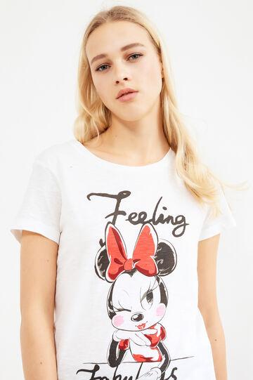 T-shirt puro cotone stampa Minnie, Bianco latte, hi-res