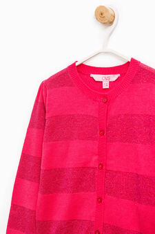 Striped cotton and viscose pullover, Strawberry Red, hi-res