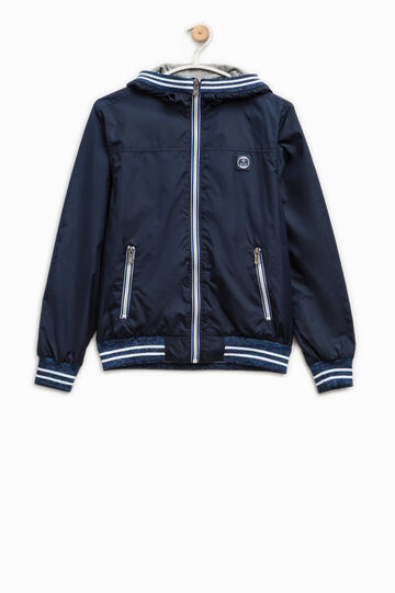 Solid colour jacket with hood, Blue, hi-res