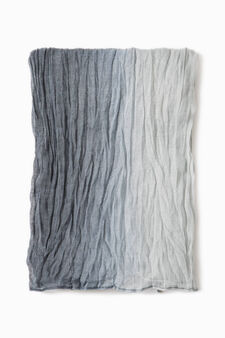 Degradé creased-effect scarf, Grey, hi-res