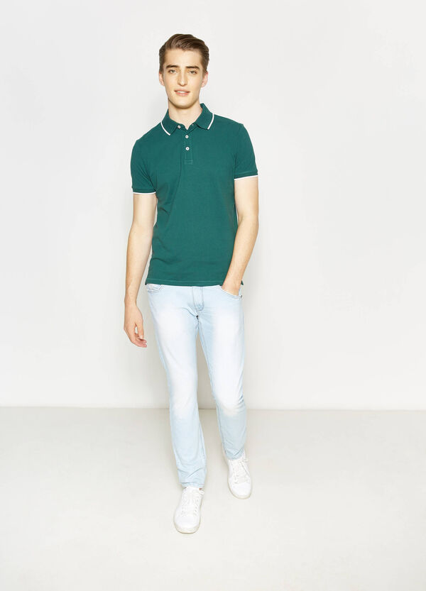 Cotton polo shirt with bluff collar | OVS