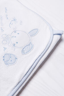 Embroidered cotton robe, White/Light Blue, hi-res