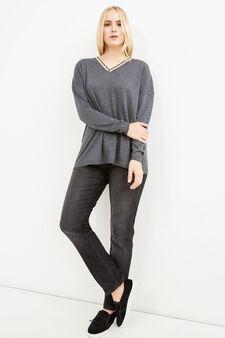 Curvy wool blend pullover with V neck, Slate Grey, hi-res
