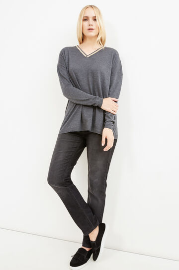 Curvy wool blend pullover with V neck, Slate Grey, hi-res