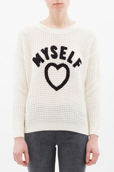Knitted pullover., White, hi-res