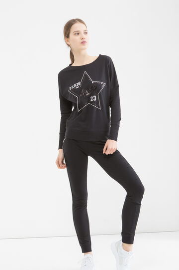 Printed sports T-shirt in cotton, Black, hi-res