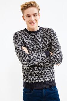 Pullover tricot girocollo fantasia, Blu navy, hi-res